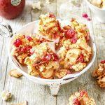 Bouchées croustillantes aux pommes Antarès, pop-corn et pralines roses